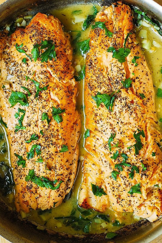Healthy Fish Recipes  Trout with Garlic Lemon Butter Herb Sauce Julia s Album