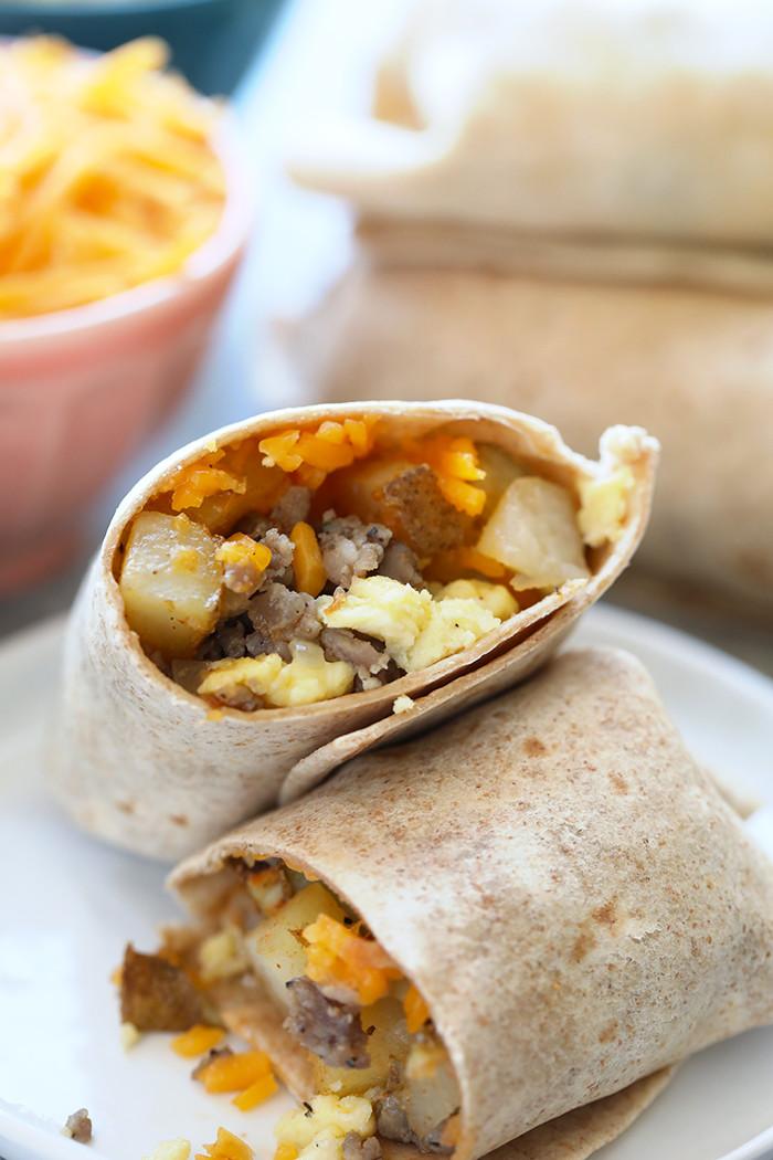 Healthy Freezer Breakfast  Make Ahead Breakfast Burritos Fit Foo Finds