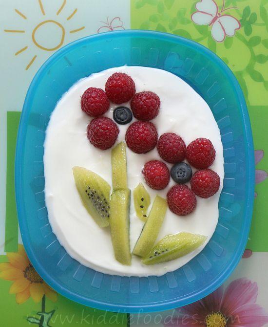 Healthy Fresh Fruit Desserts  Raspberry and kiwi flowers easy dessert Recipe