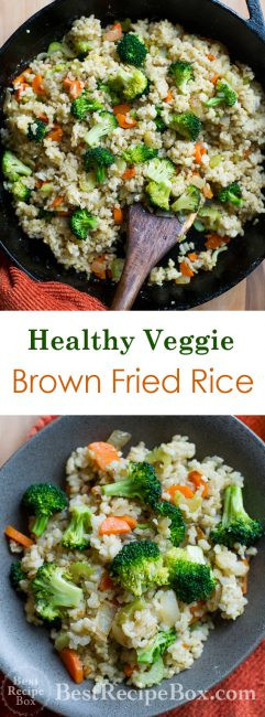 Healthy Fried Brown Rice  Healthy Brown Fried Rice Recipe with Broccoli Ve ables