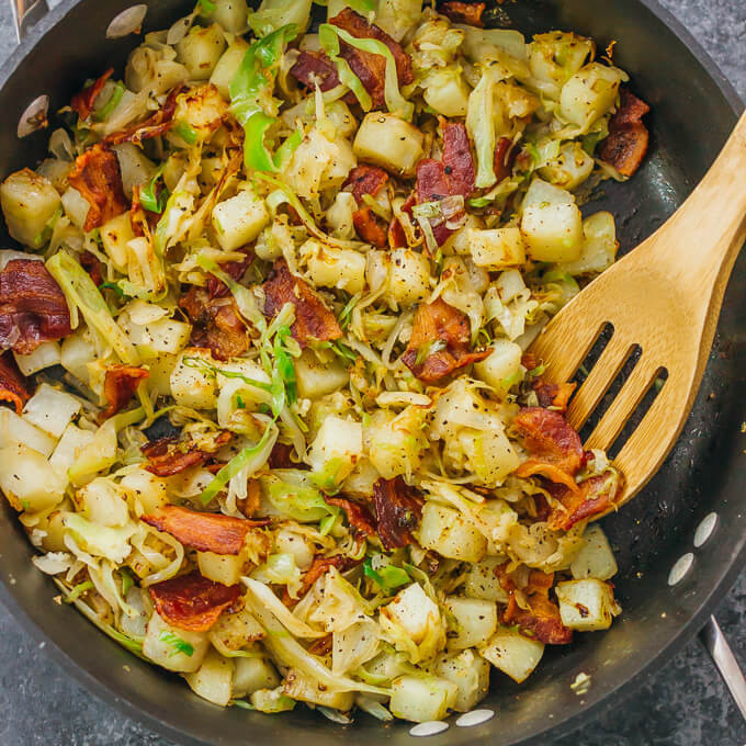 Healthy Fried Cabbage  Fried cabbage and potatoes with bacon savory tooth
