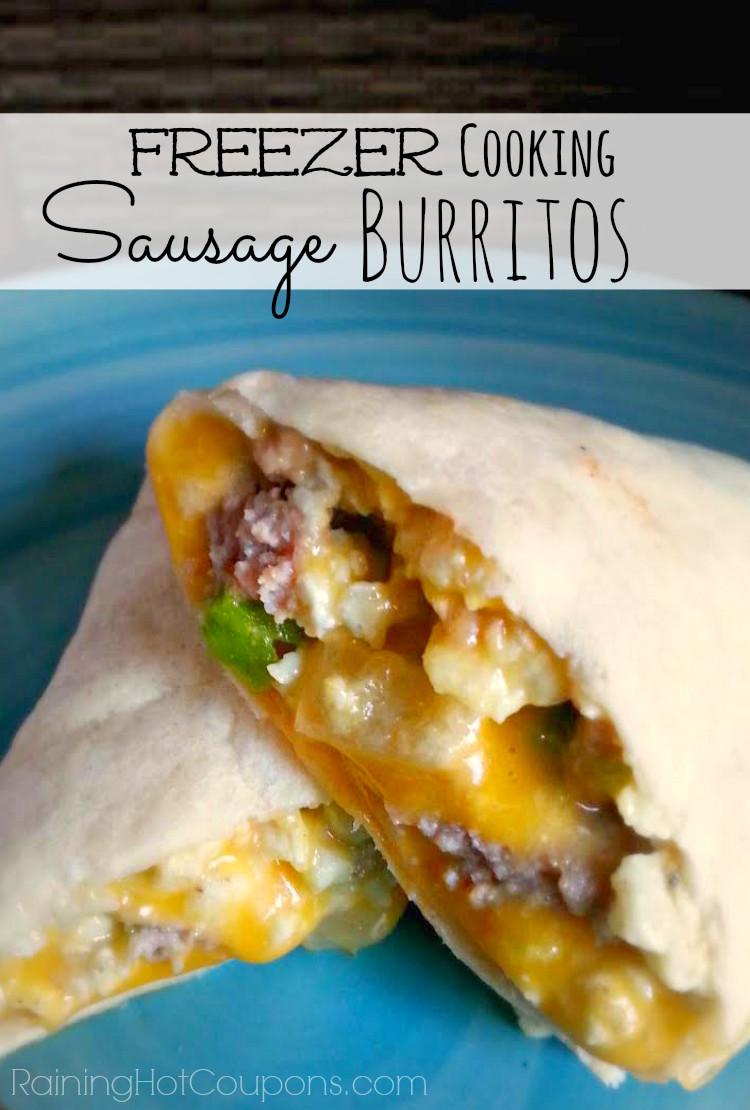Healthy Frozen Breakfast  Easy Sausage Breakfast Burritos Freezer Cooking Recipe