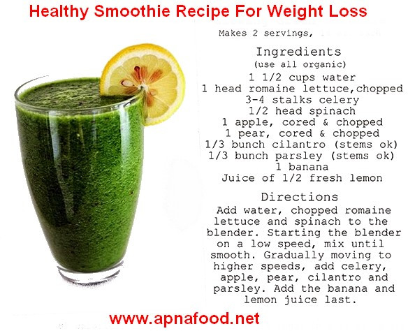 Healthy Fruit And Vegetable Smoothie Recipes For Weight Loss  smoothie recipes for weight loss