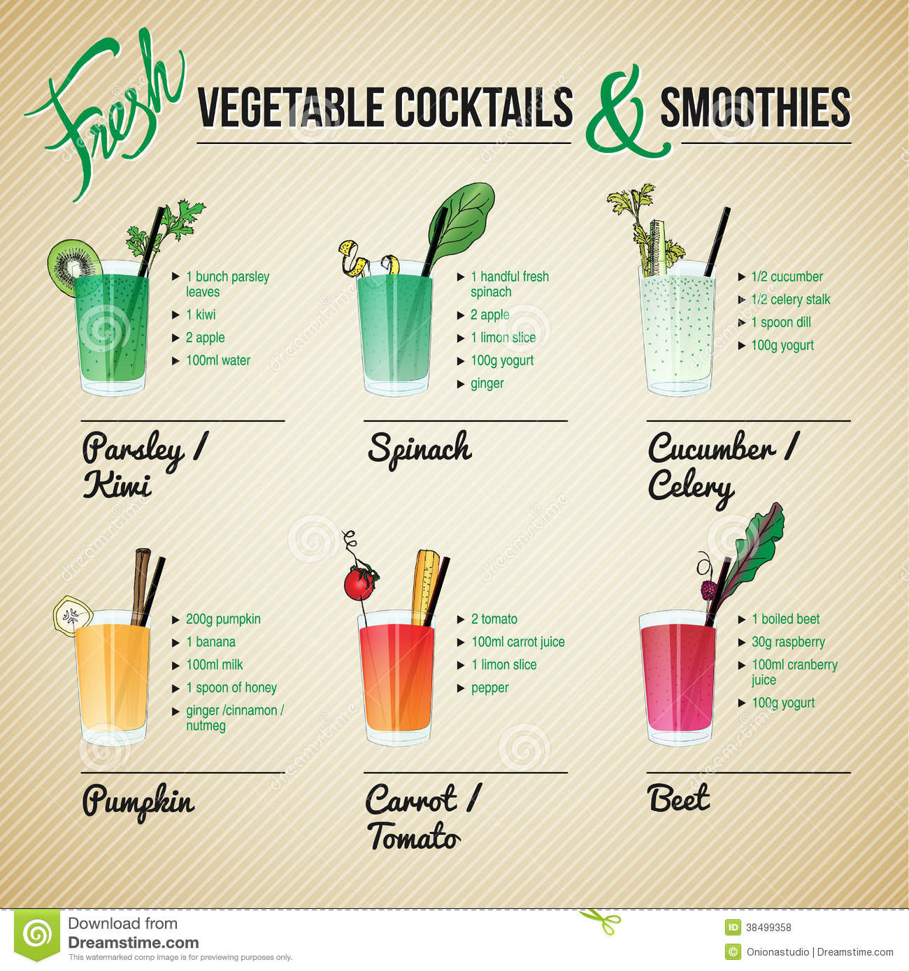 Healthy Fruit And Vegetable Smoothie Recipes  Fresh Ve ables Cocktails And Smoothies Stock Vector