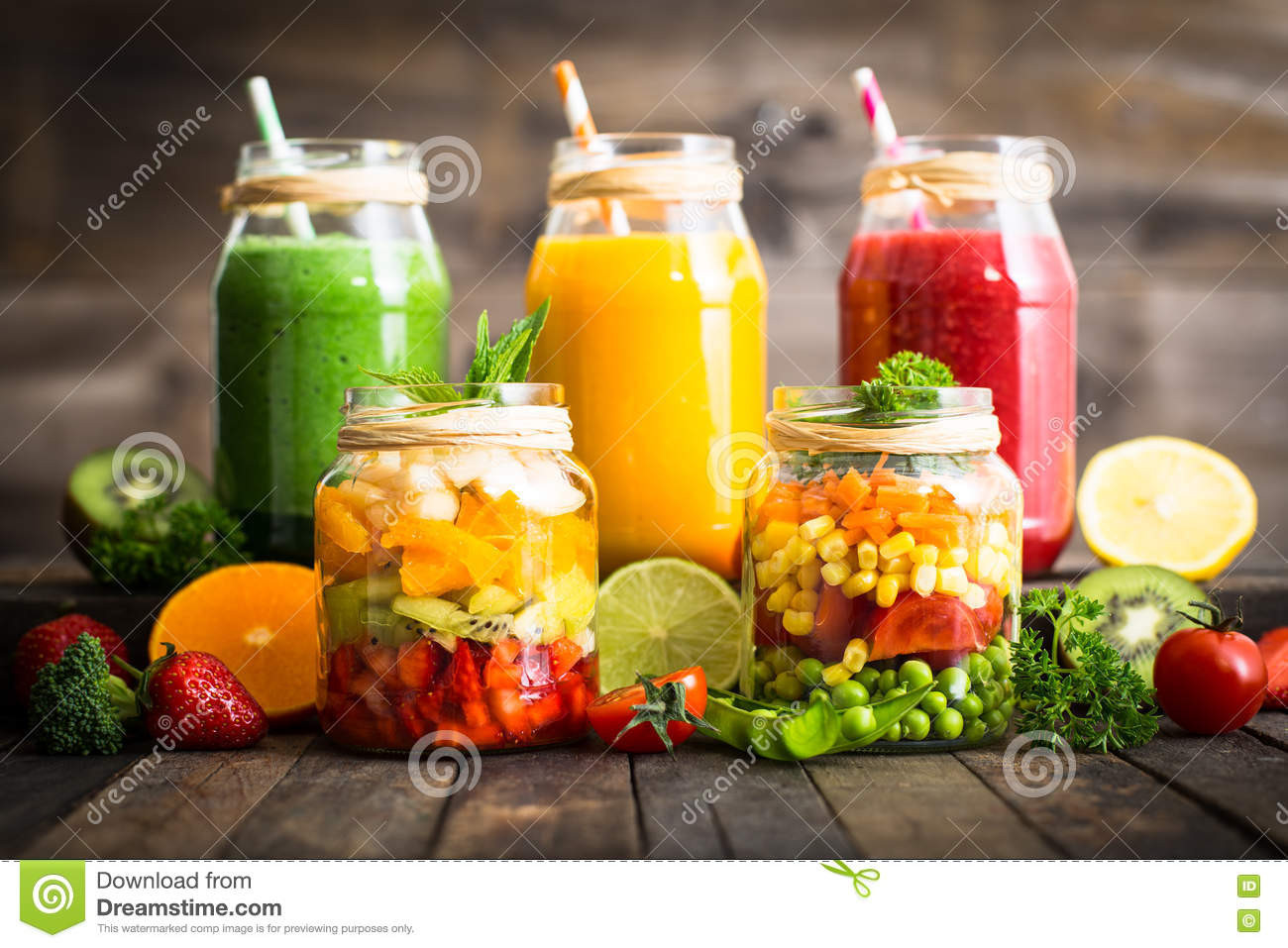 Healthy Fruit And Vegetable Smoothies  Healthy Fruit And Ve able Salad And Smoothies Stock