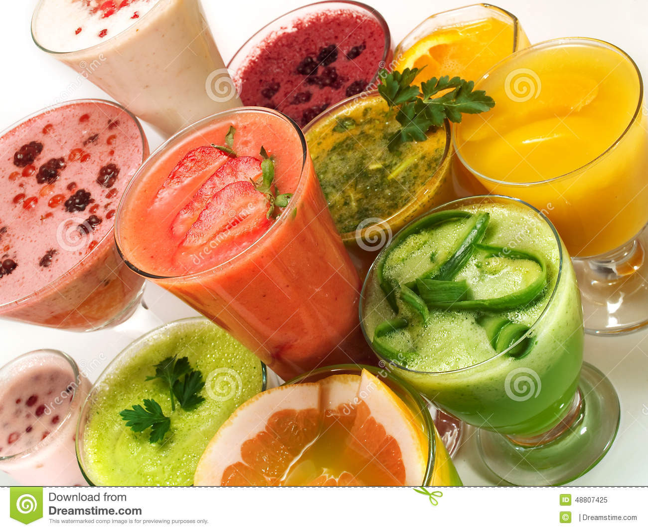 Healthy Fruit And Vegetable Smoothies  Healthy Drinks From Fruits And Ve ables Stock