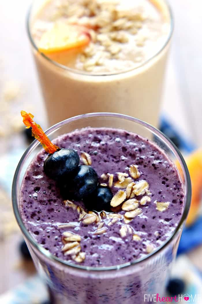Healthy Fruit Smoothies With Yogurt  Healthy Oat Smoothies Blueberry Muffin & Peach Cobbler
