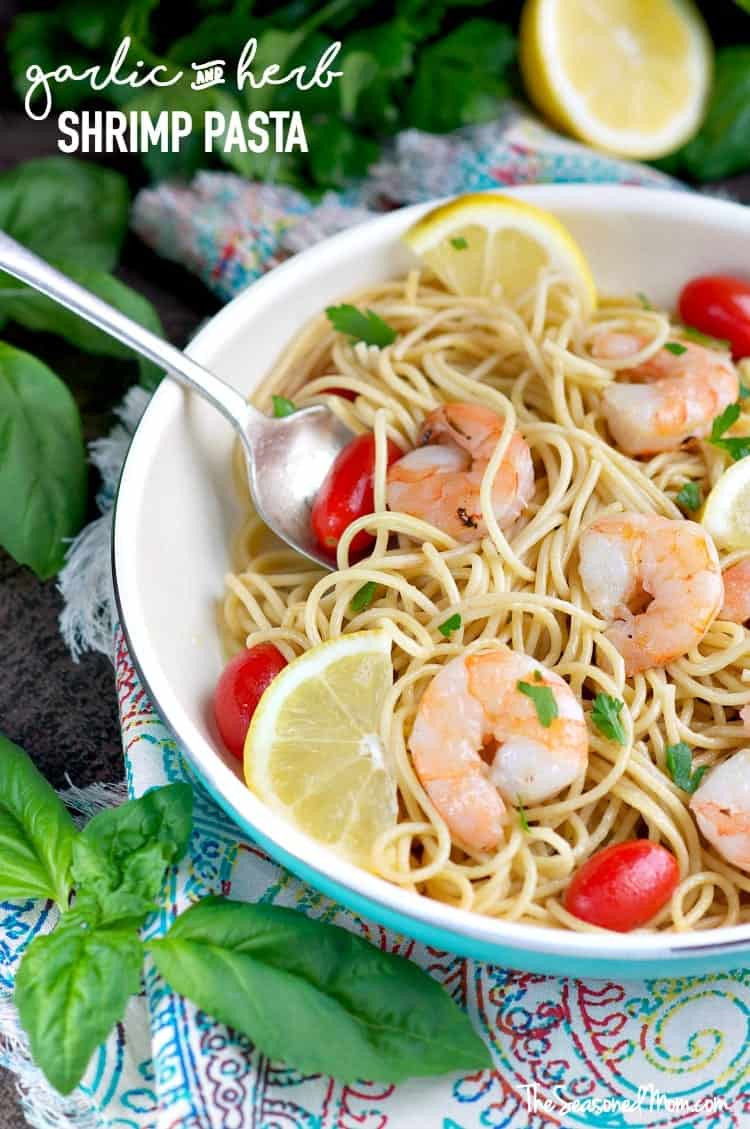 Healthy Garlic Shrimp Pasta  Garlic and Herb Shrimp Pasta The Seasoned Mom