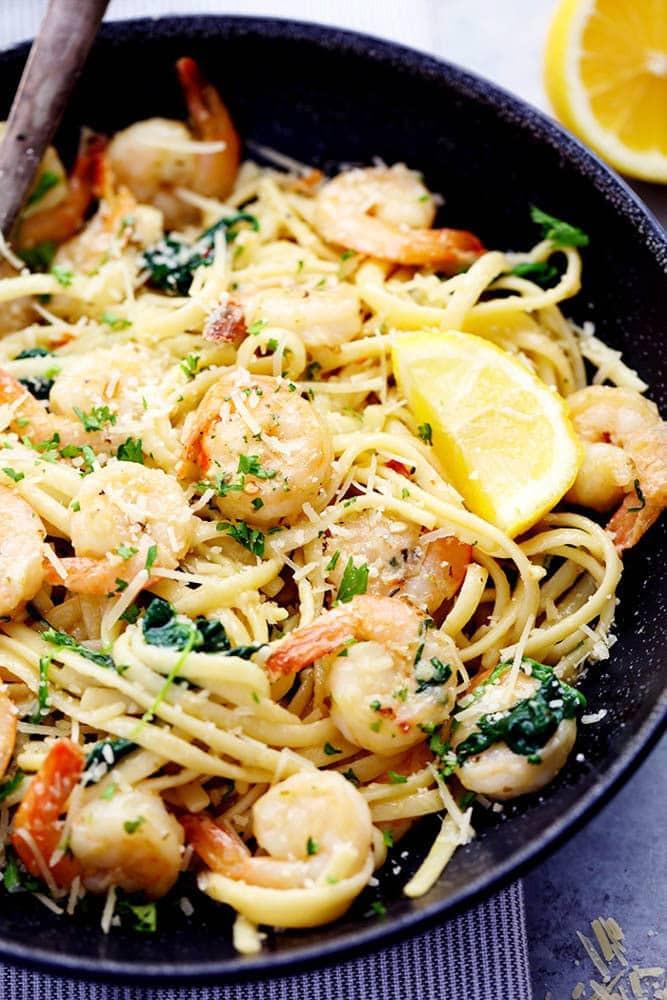 Healthy Garlic Shrimp Pasta  Lemon Garlic Parmesan Shrimp Pasta