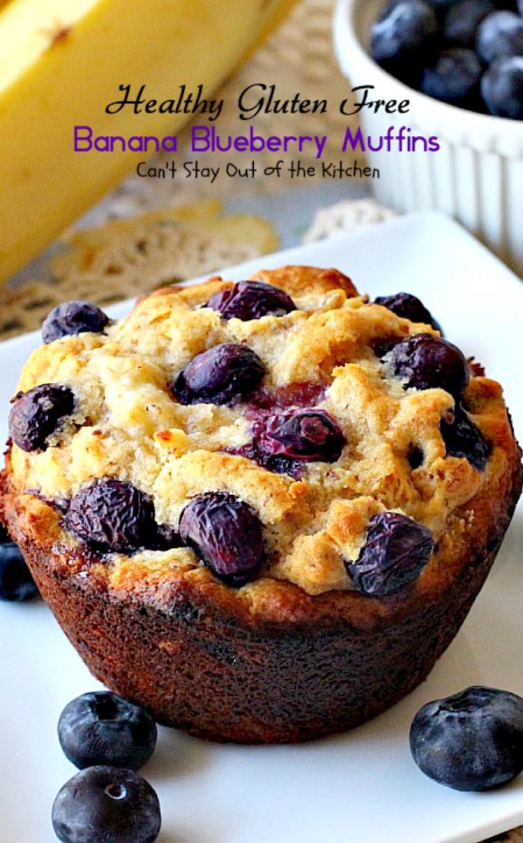 Healthy Gluten Free Breakfast  Healthy Gluten Free Banana Blueberry Muffins Can t Stay