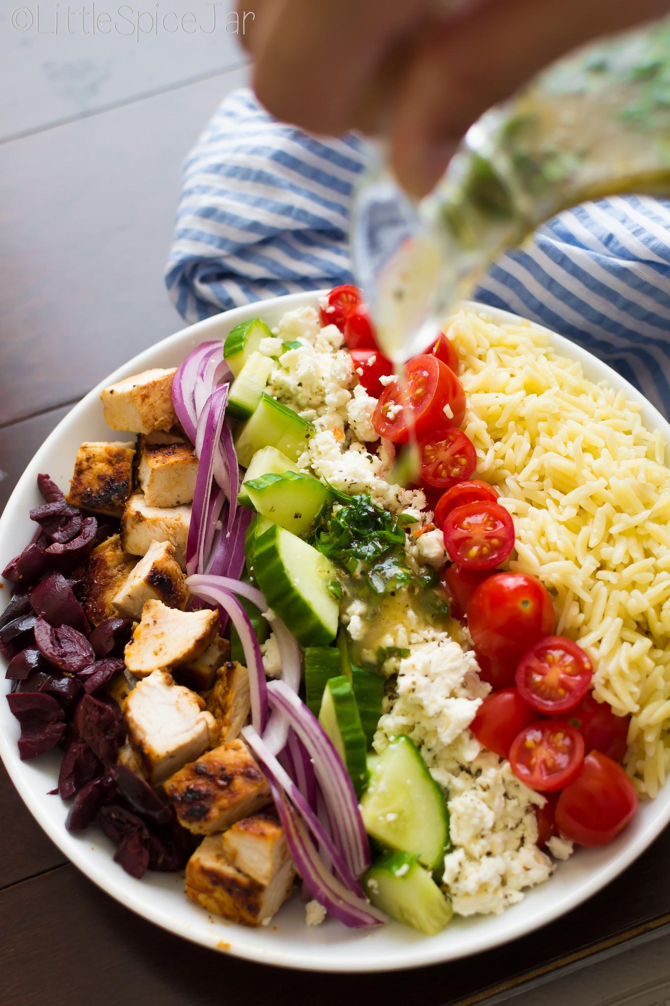 Healthy Greek Pasta Salad  Greek Orzo Pasta Salad With Chicken