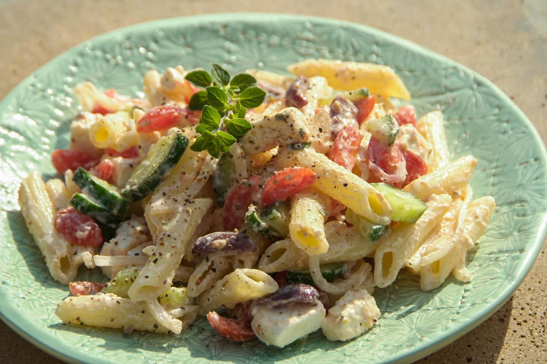 Healthy Greek Pasta Salad  Healthy Greek Pasta Salad a la Woolies Domestic Goddesses