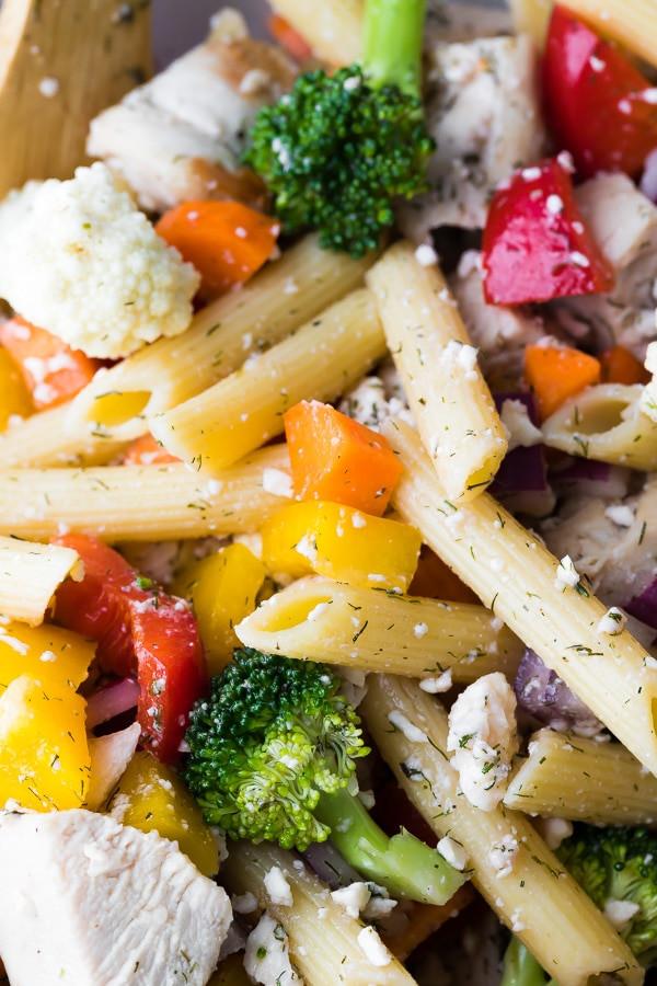Healthy Greek Pasta Salad  Healthy Greek Chicken Pasta Salad Recipe