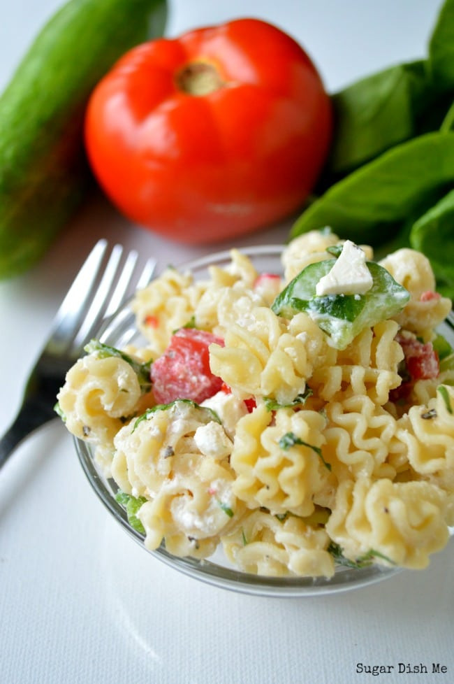 Healthy Greek Pasta Salad  Healthy Spinach and Feta Greek Pasta Salad Sugar Dish Me