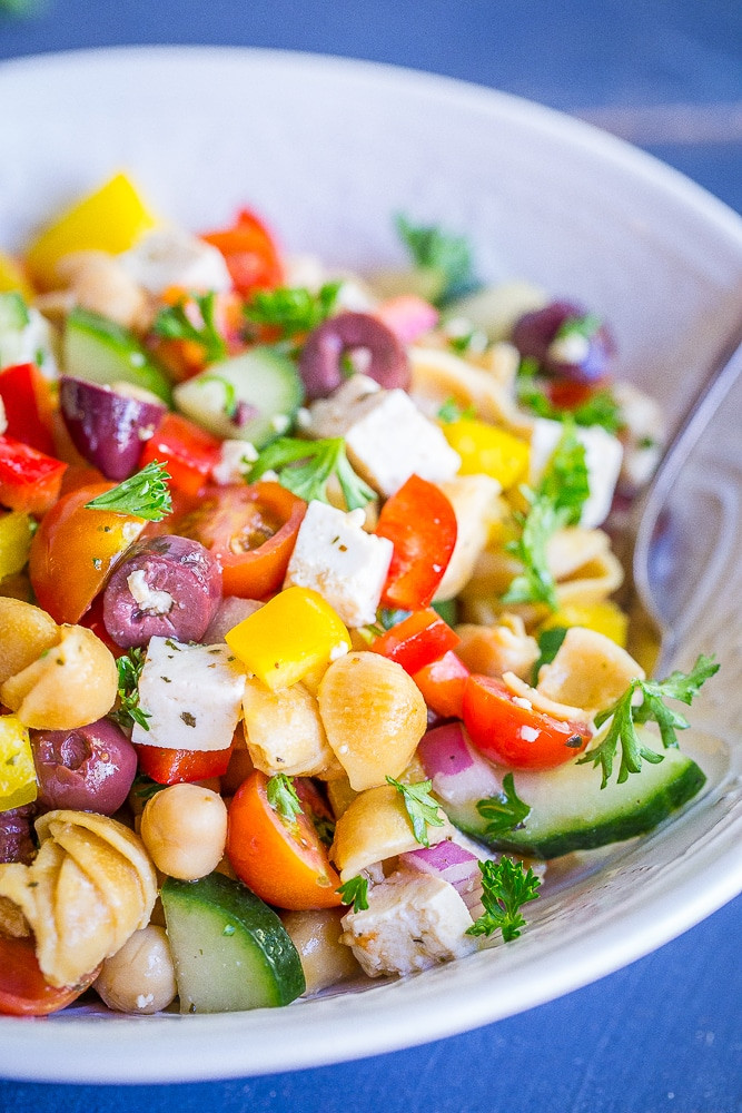Healthy Greek Pasta Salad  Loaded Greek Chickpea Pasta Salad She Likes Food