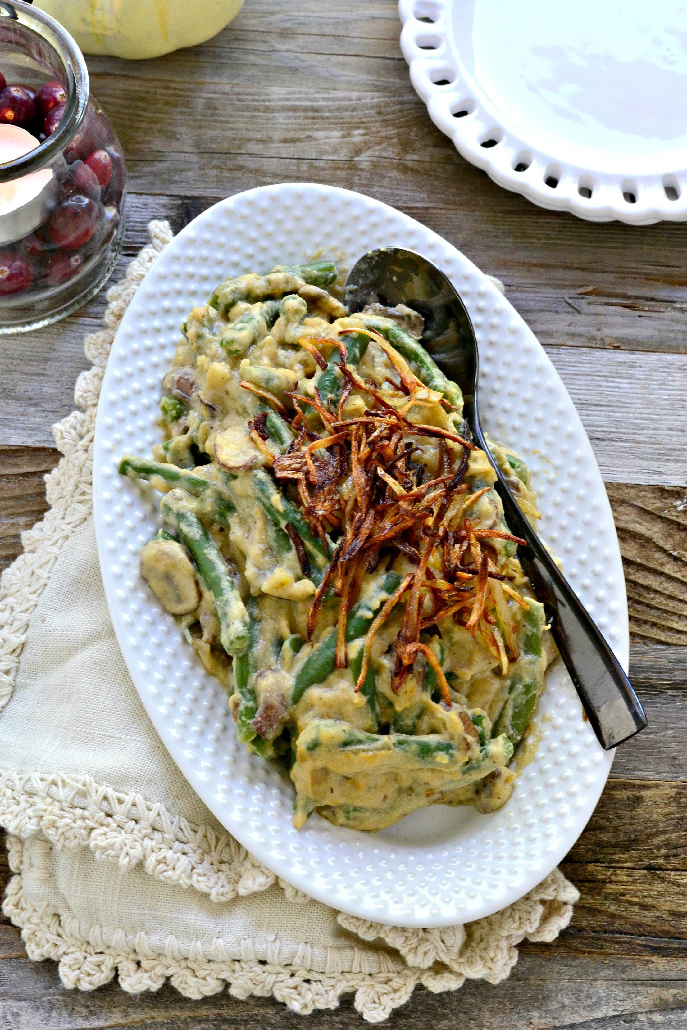 Healthy Green Bean Casserole  Healthy Green Bean Casserole Fork and Beans