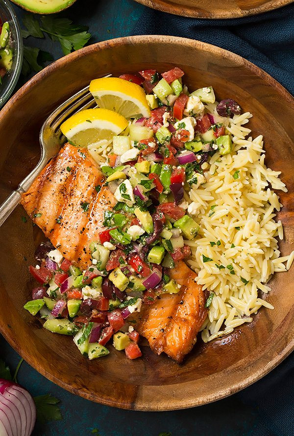 Healthy Grilled Dinners  Grilled Salmon with Avocado Greek Salsa and Orzo Cooking