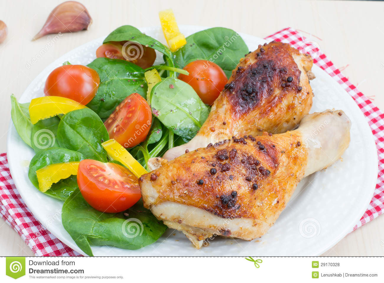 Healthy Grilled Dinners  Healthy Dinner Grilled Chicken Legs And Salad Stock