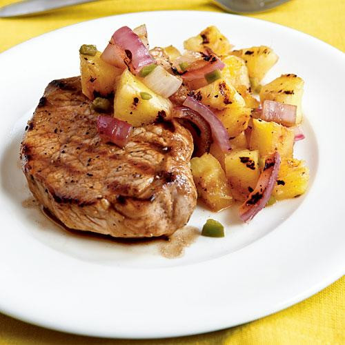Healthy Grilled Pork Chops  Pan Grilled Pork Chops with Grilled Pineapple Salsa
