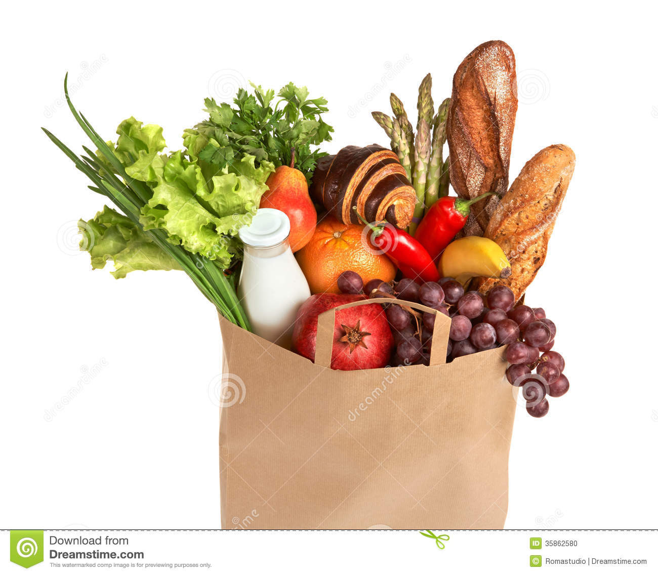 Healthy Grocery Snacks  A Grocery Bag Full Healthy Fruits And Ve ables Stock