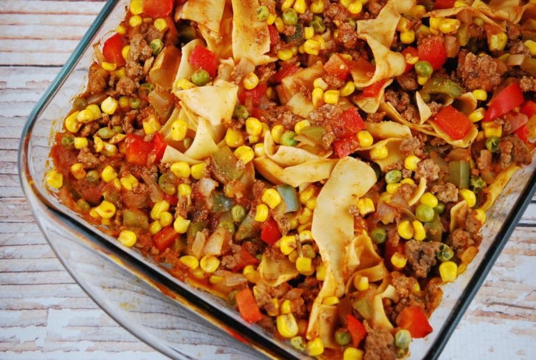 Healthy Ground Beef Casserole Recipes  Ground Beef and Noodle Casserole Recipe 8 Points LaaLoosh