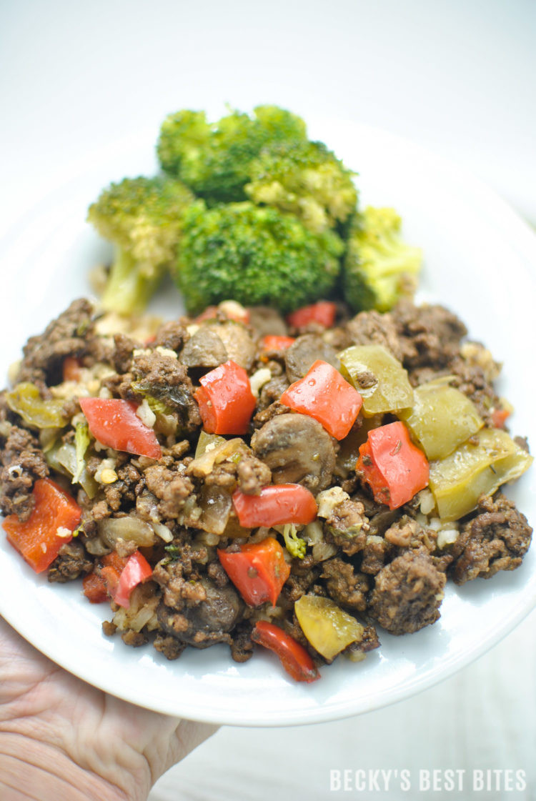 Healthy Ground Beef Skillet Recipes  Bell Pepper Mushroom and Ground Beef Skillet Recipe Becky