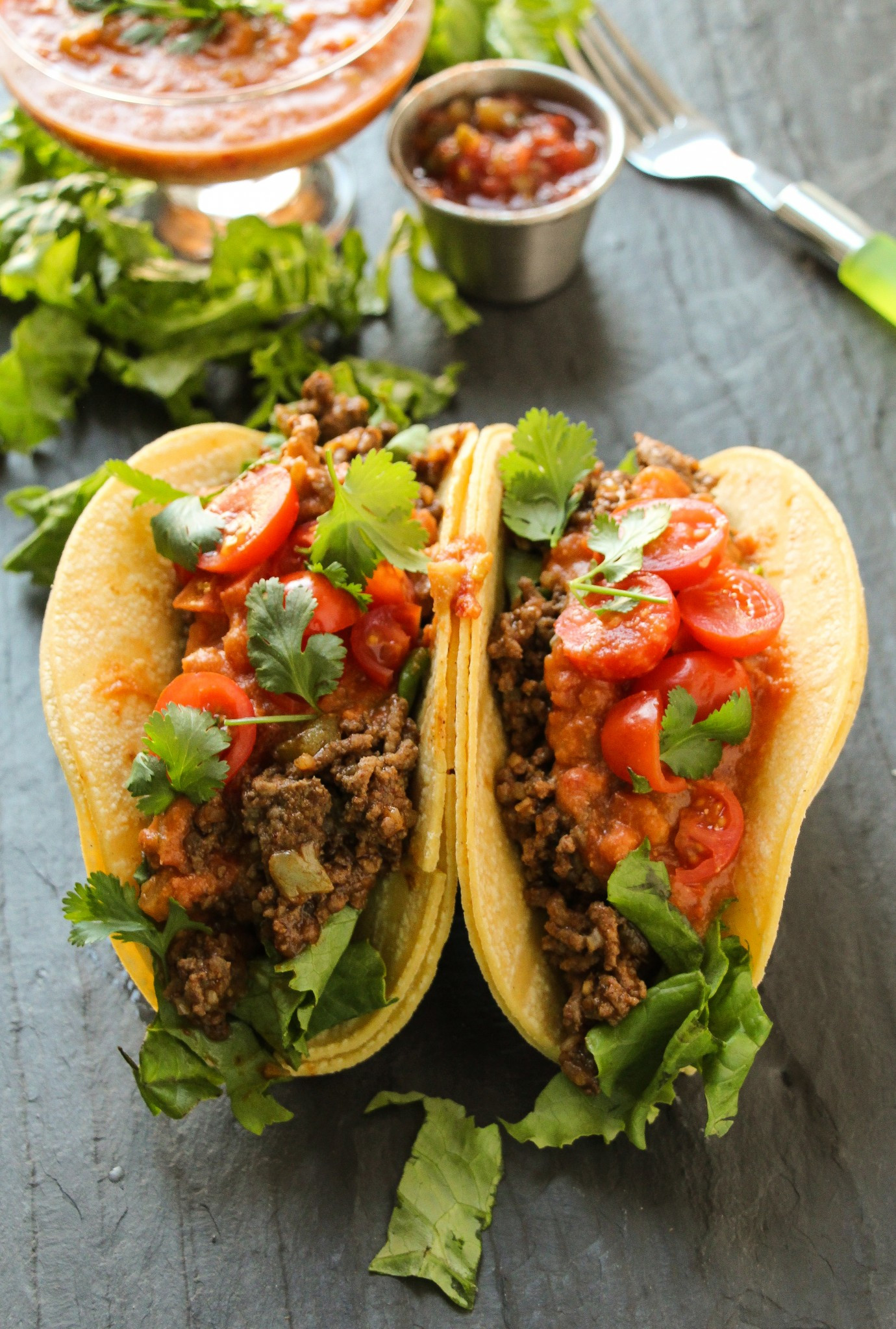 Healthy Ground Beef Tacos  Ground Beef Tacos with Loaded Refried Bean Sauce Layers