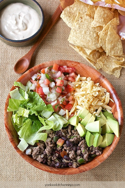 Healthy Ground Beef Tacos  Healthy 10 minute taco salad