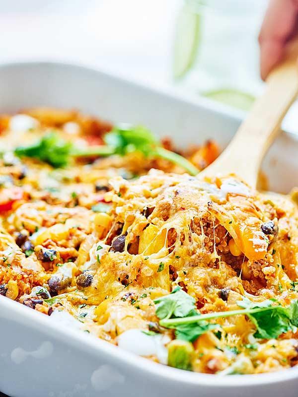 Healthy Ground Chicken Casserole  Healthy Mexican Casserole w Ground Turkey & Quinoa
