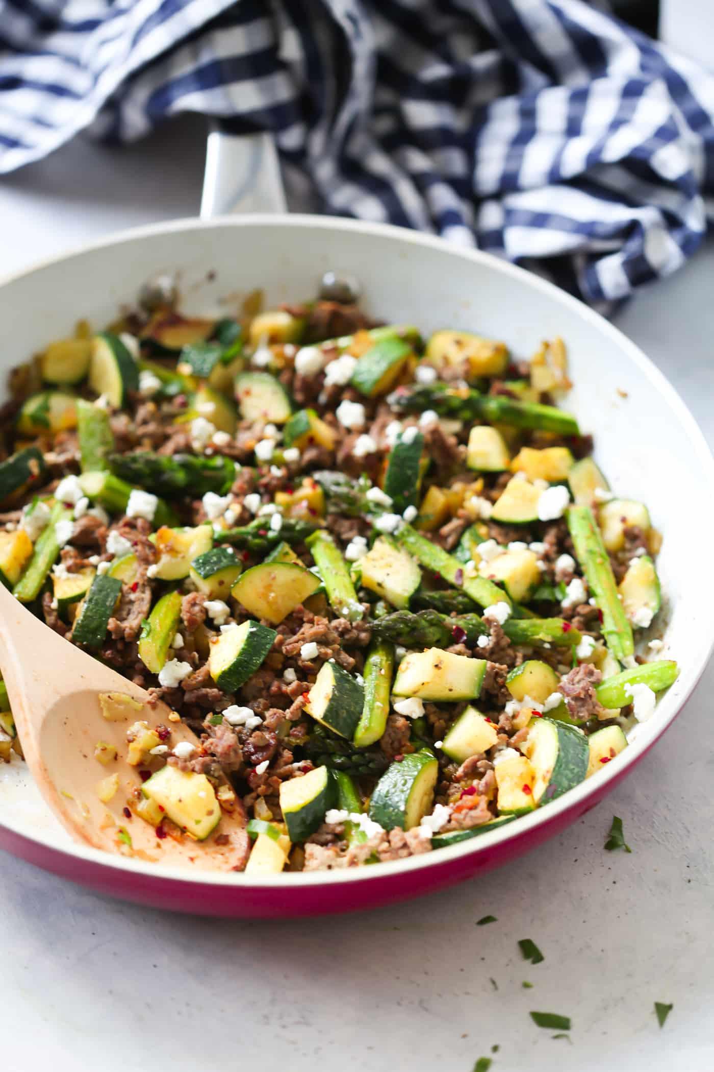 Healthy Ground Pork Recipes  Ground Beef Veggie Skillet Recipe Primavera Kitchen