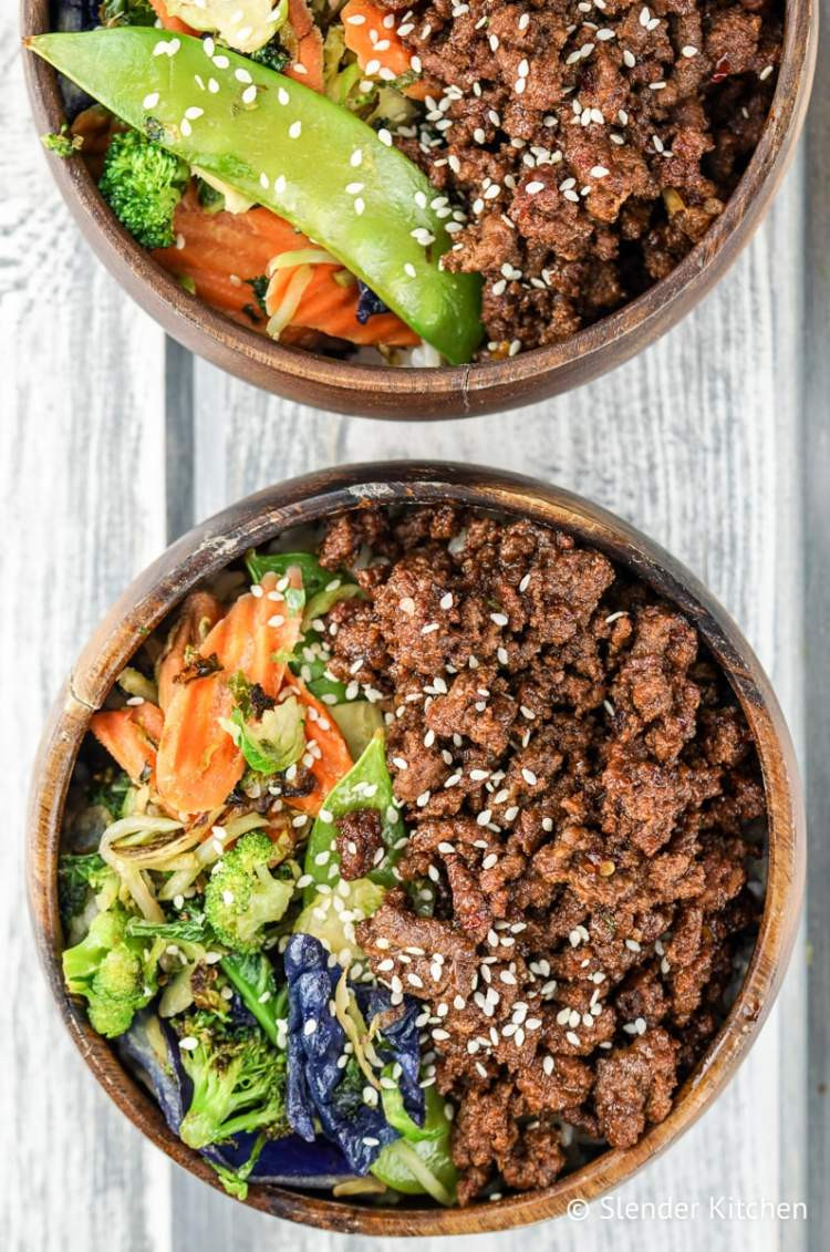 Healthy Ground Pork Recipes  Healthy Korean Ground Beef with Ve ables Slender Kitchen