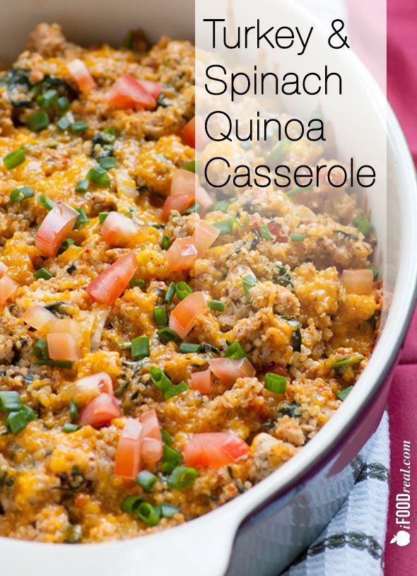 Healthy Ground Turkey Casserole  Ground Turkey Quinoa Casserole with Spinach