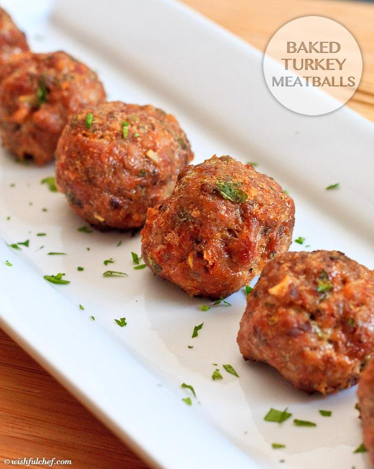 Healthy Ground Turkey Meatballs  Baked Turkey Meatballs Wishful Chef