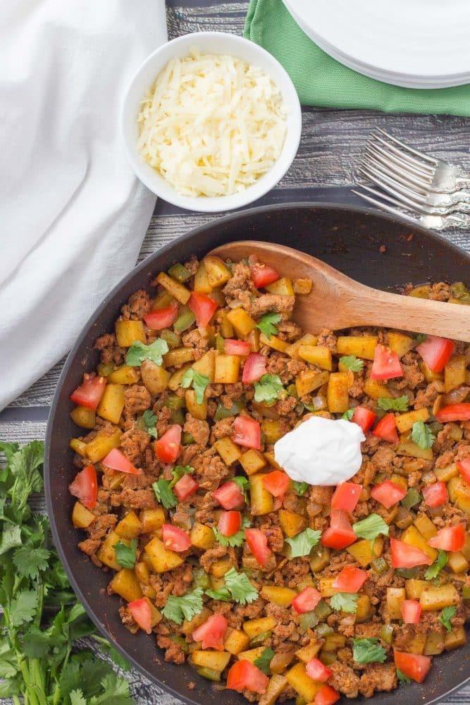 Healthy Ground Turkey Recipe  Healthy taco turkey and potato skillet Family Food on