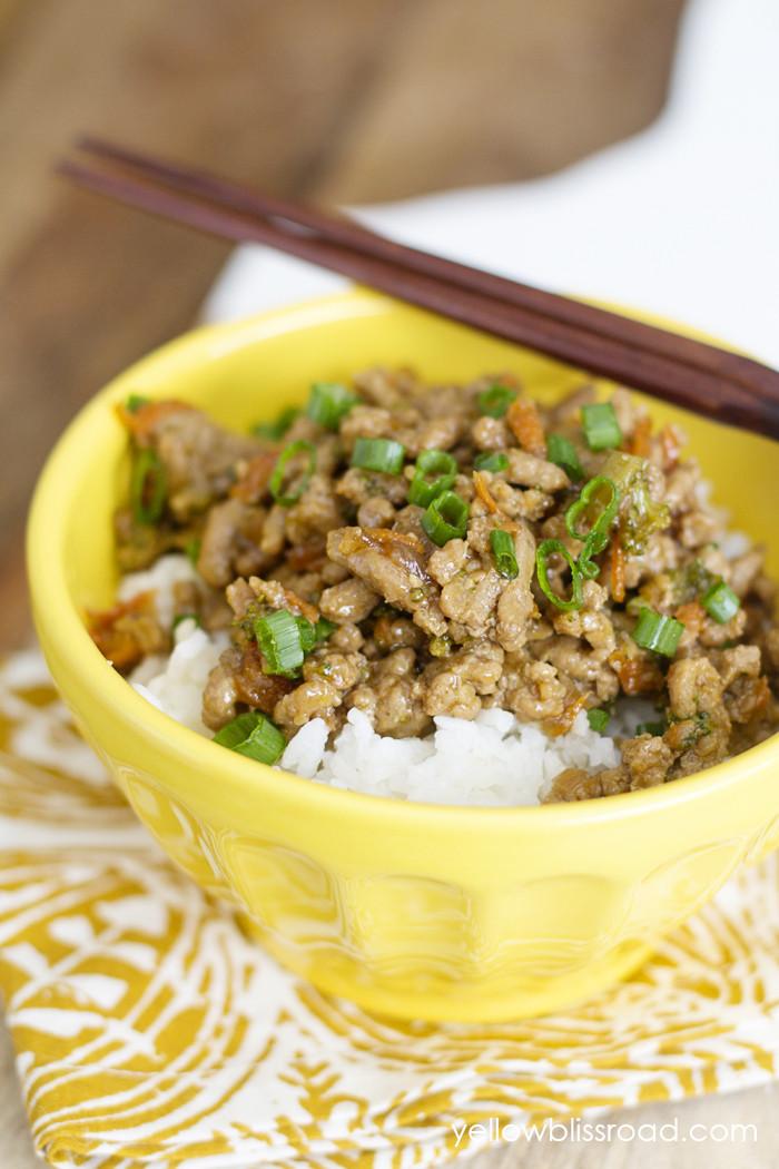 Healthy Ground Turkey Recipe  Teriyaki Turkey Rice Bowl