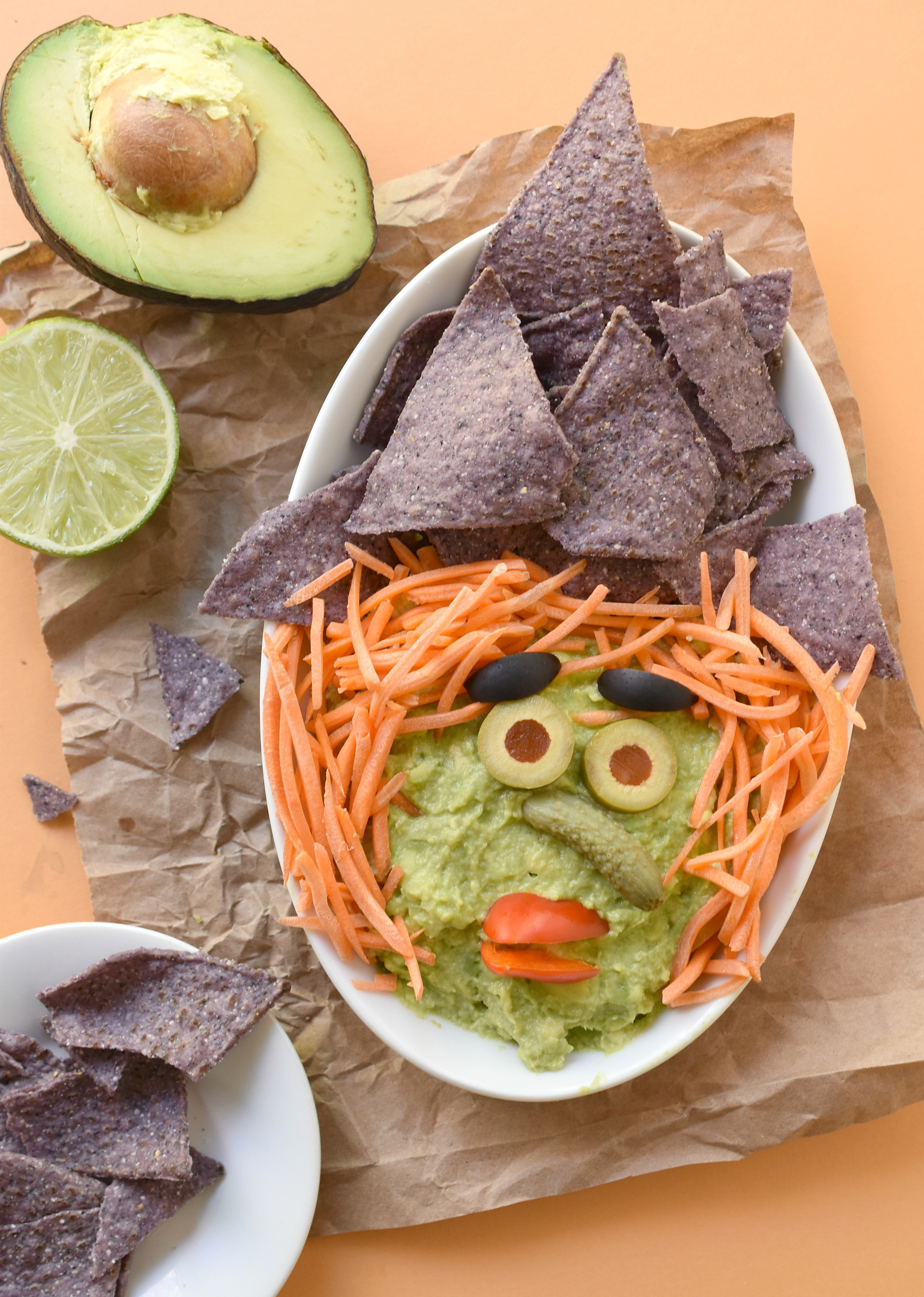 Healthy Guacamole Snacks  Witchy Guacamole Dip Fork and Beans