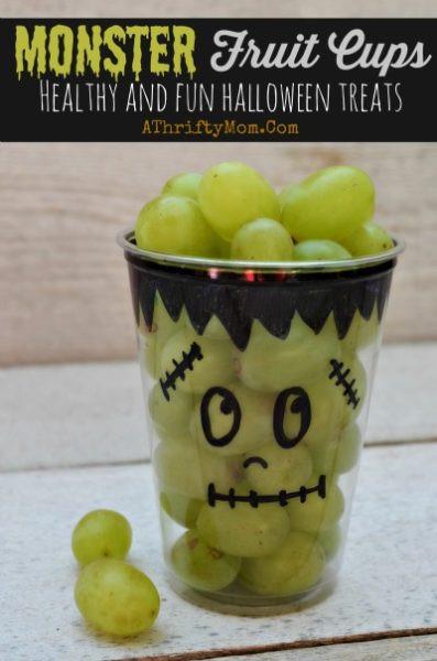 Healthy Halloween Snacks For School  Monster Fruit Cups Fast and Easy Healthy Halloween Treats