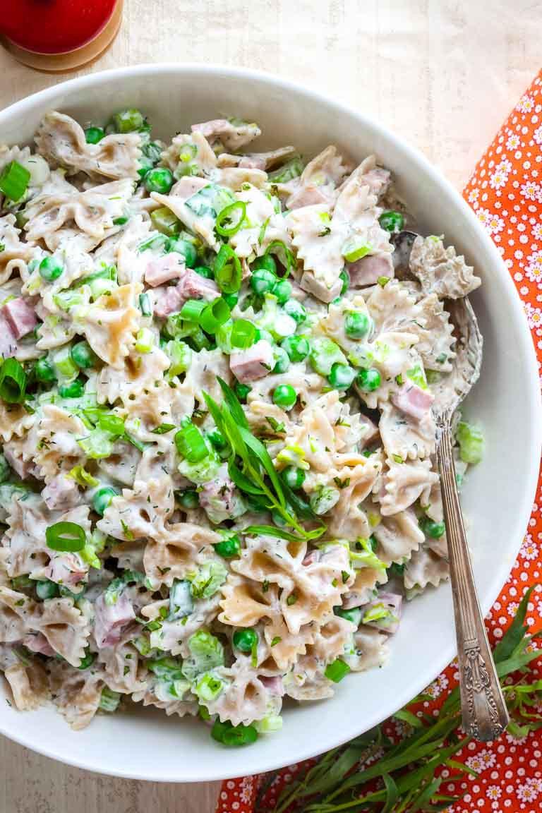 Healthy Ham Recipes  healthy greek yogurt pasta salad with ham and peas