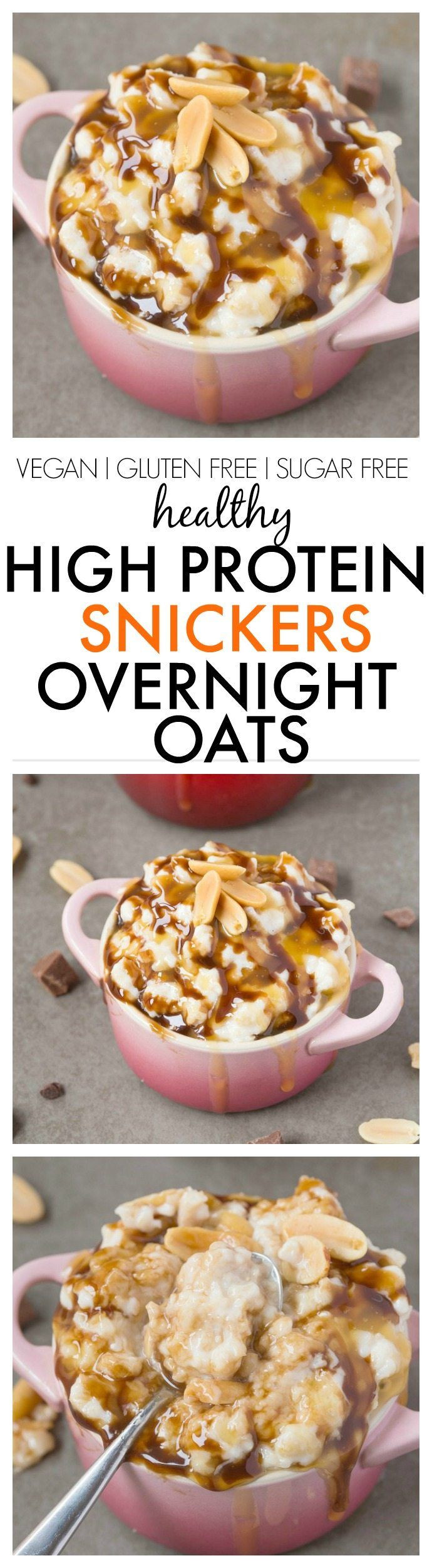 Healthy High Protein Vegetarian Recipes  Healthy High Protein Snickers Overnight Oats Easy