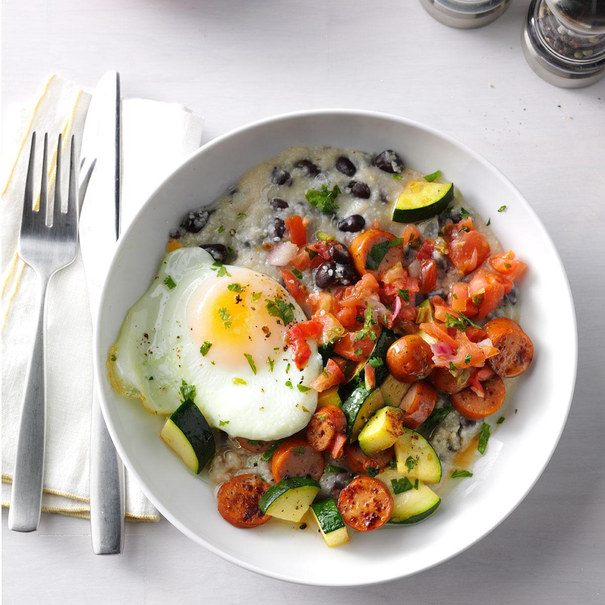 Healthy Hot Breakfast  Chorizo & Grits Breakfast Bowls Recipe