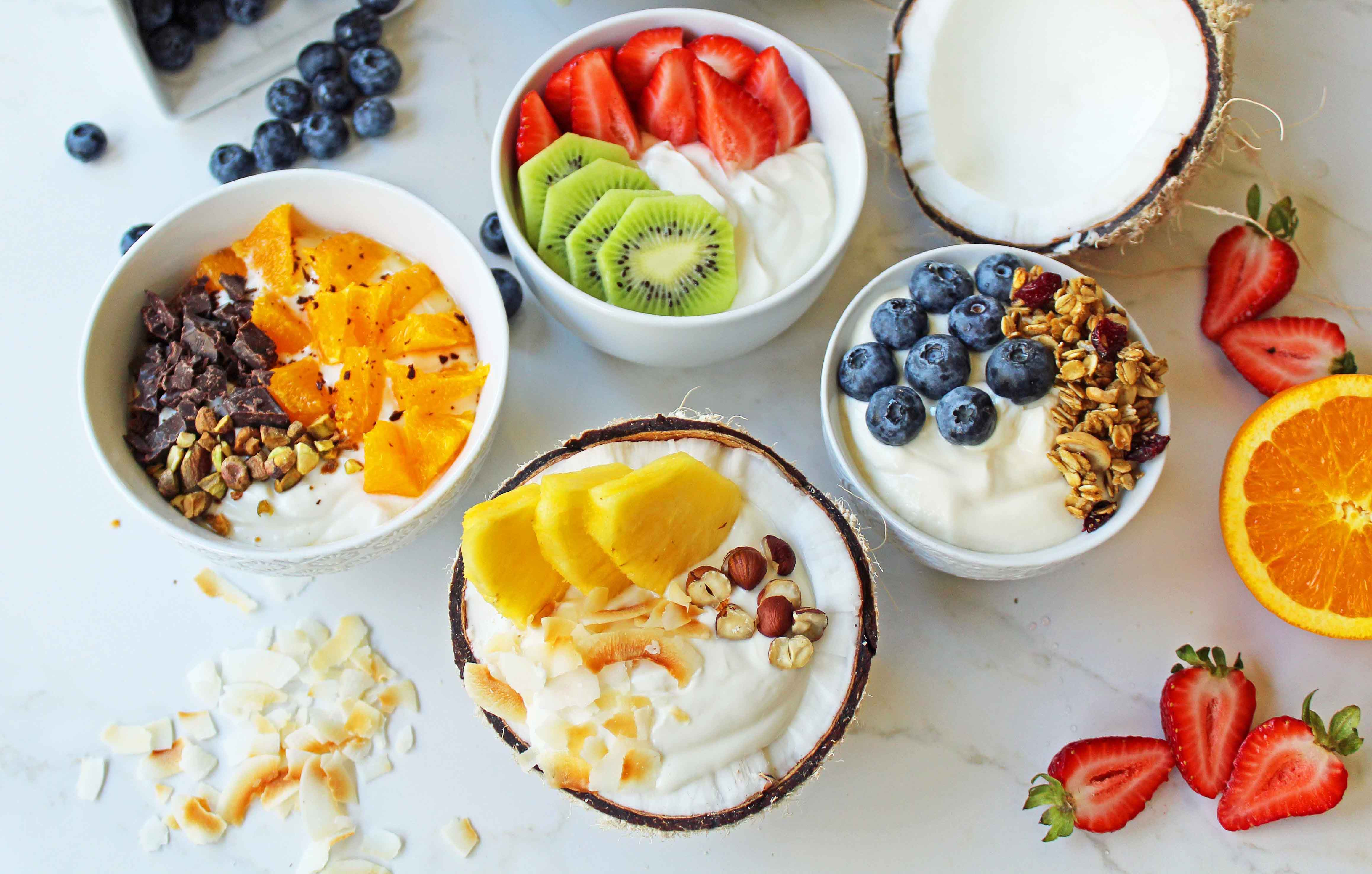 Healthy Hot Breakfast  Greek Yogurt Breakfast Bowls with Toppings – Modern Honey