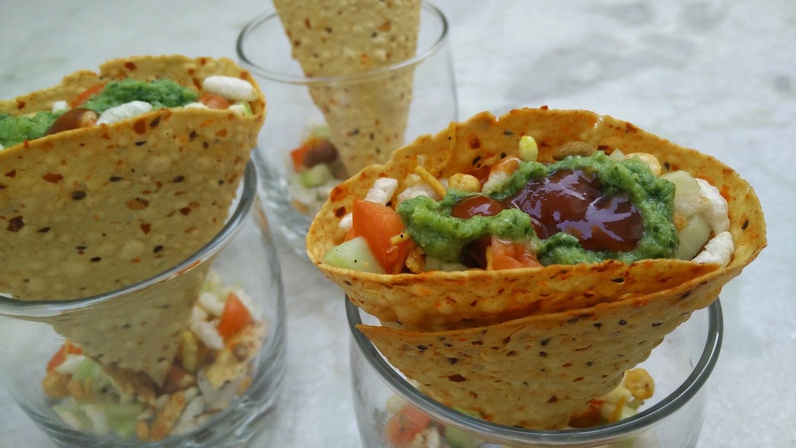 Healthy Indian Food Recipes  Masala Papad Cones Recipe Indian Snacks Healthy Kadai