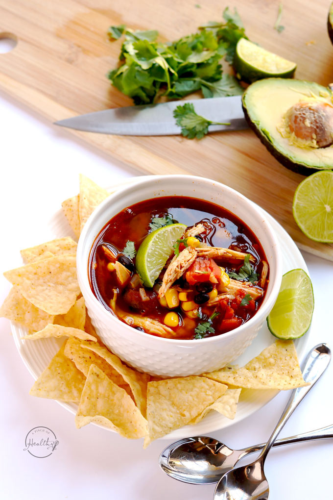 Healthy Instant Pot Recipes Chicken  Instant Pot Chicken Tortilla Soup A Pinch of Healthy