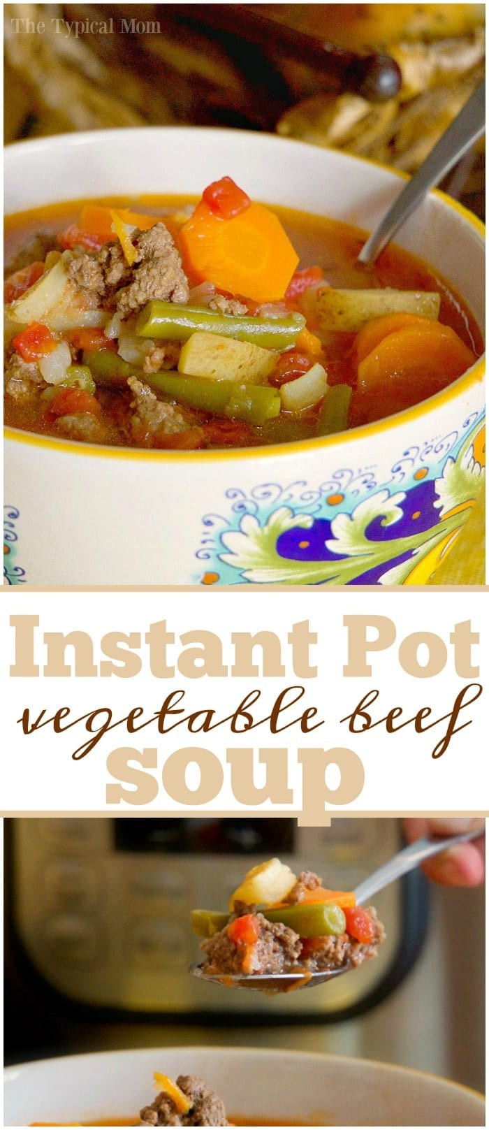 Healthy Instant Pot Recipes Vegetarian  Instant Pot Ve able Beef Soup · The Typical Mom