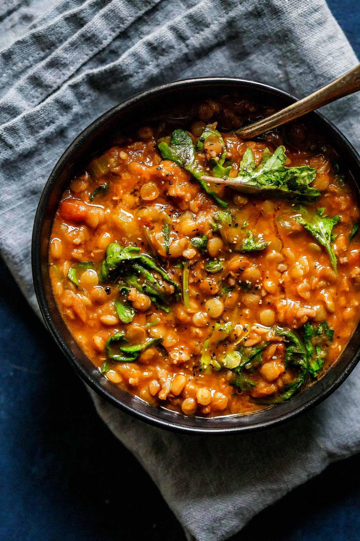 Healthy Instant Pot Soup Recipes  Instant Pot Lentil Soup with Sausage & Kale
