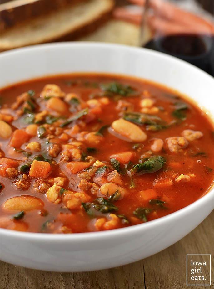 Healthy Italian Sausage Recipes  Italian Sausage Spinach and Tomato Soup Iowa Girl Eats
