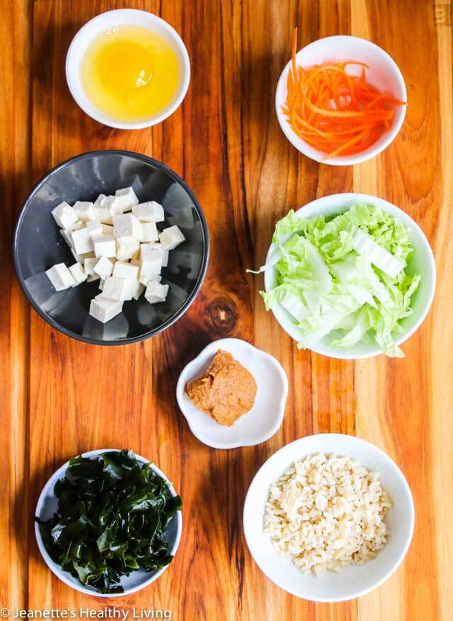 Healthy Japanese Breakfast  Miso Soup with Tofu Wakame Seaweed Rice and Egg