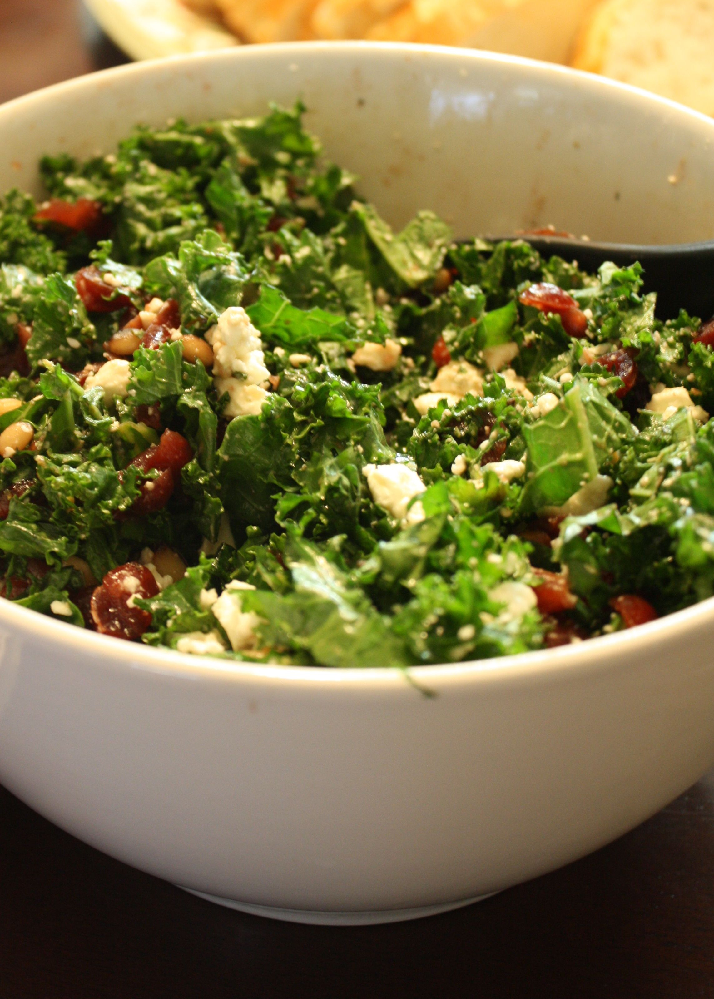 Healthy Kale Recipes  Kale Salad with cranberries pine nuts and feta