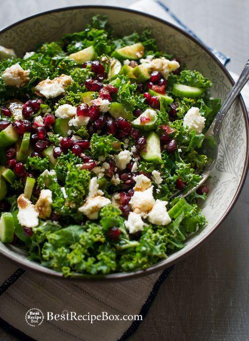 Healthy Kale Salad Recipes  Healthy Kale Salad recipe w Pomegranate Seeds