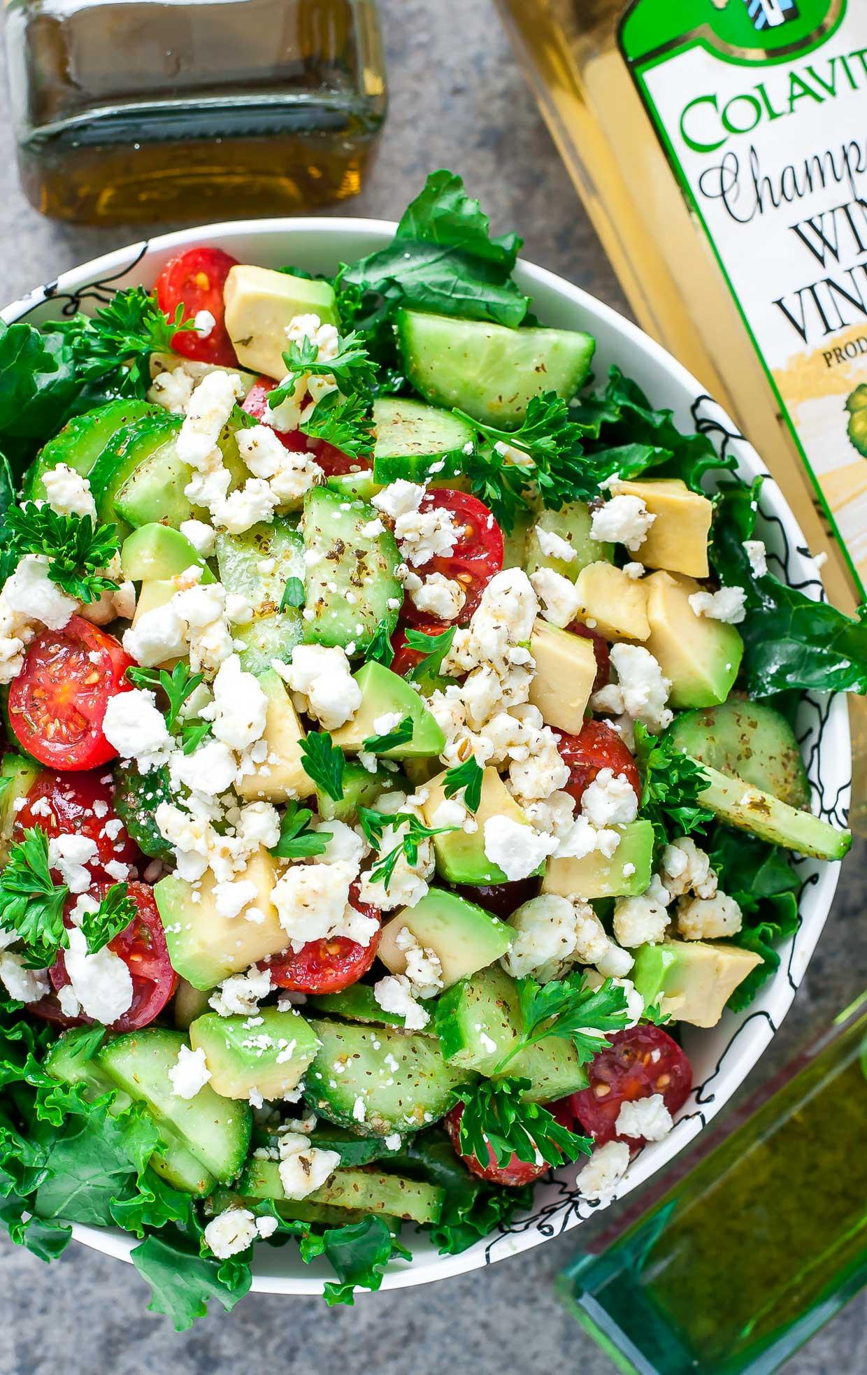Healthy Kale Salad Recipes  Greek Kale Salad Recipe with Easy Homemade Greek Dressing